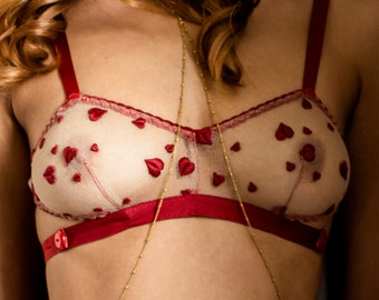 Heart Bralette Bra Lace / Red Hearts French Lace Silk / REBELLE Bralette - Rouge
