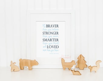 You Are Braver Than You Believe Winnie the Pooh Art Print - Kids Wall Art, Nursery Art Print - Baby Boy Blue Nursery Art - Instant Download