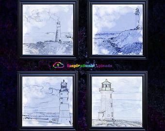 "Four Lighthouses - 12"" x12"" HD Digital Prints"