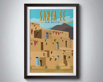 Santa Fe | New Mexico | Travel Poster | Instant Download