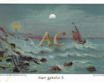 AC10923 Antique original lithography 1892 Sailing boot in stormy weather near lighthouse chromolithoghy