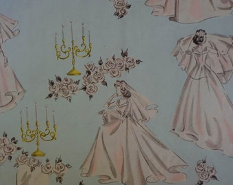 Vintage 1950s Wedding Gift Wrap Paper -- Pastel Print Beautiful Brides- 1 Sheet Wrapping Paper