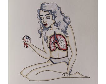 Girl with Exposed Lungs art print