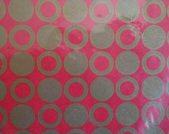 Vintage 1960s Gift Wrap Paper-Hallmark Wrapping Paper 2 Sheets NIP- Red & Gold DOTS