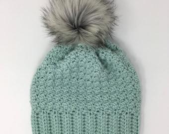 Slouchy beanie with faux fur Pom pom, mint green, womans hat
