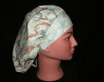 seahorse bouffant scrub hat