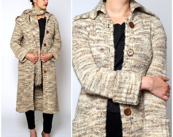 Vintage 1970s Marled Oatmeal Wool Knit Long Duster Cardigan Sweater & Scarf | Medium