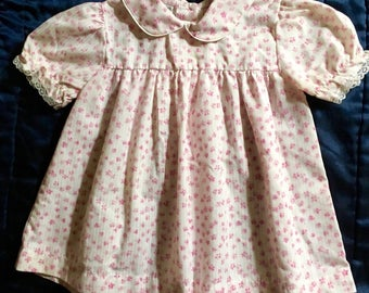 80's baby pink flower print dress size 2, easy breezy and sweet, gently used excellent condition