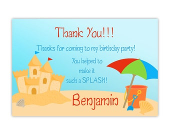Beach Thank You Card - Turquiose Sky and Sandy Beach, Cute Sand Castle Beach Personalized Birthday Party Thank You - Digital Printable File