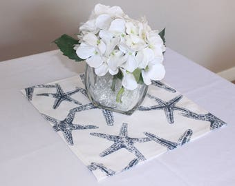 """Navy starfish placemat, 12x12"""", Nautical wedding decor, Nautical placemat, Wedding centerpiece, Baby shower - Birthday party - Table square"""