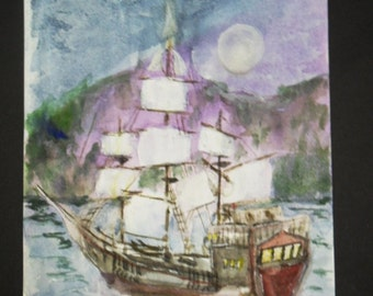 Pirate ship painting watercolor original art - 5.5 by 8.5 inches - mini painting - ship painting - pirate art