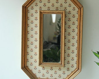 Vintage gilt rectangular decorative wall mirror with floral fabric design