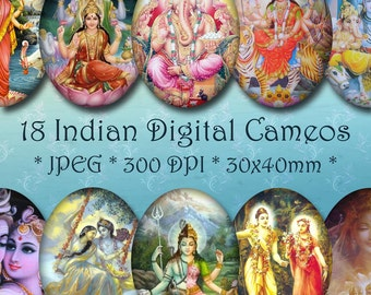 INSTANT DOWNLOAD Digital Art Cameos 30x40 mm - Indian Gods - for Jewelry, Scrapbooking and Crafts