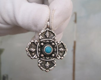 Vintage Pendant Cross Maltese Silver Turquoise