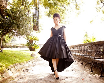 1950s off shoulder dress, black prom dress, high low dress, ball gown, black 50s evening gown, black bridesmaid dress, red carpet dress