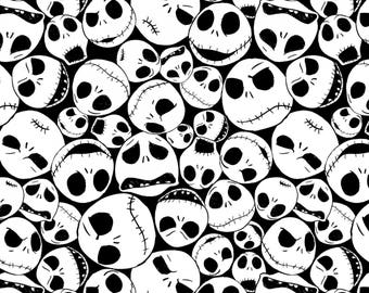 Nightmare Before Christmas Packed Jack Cotton Woven - Nightmare Before Christmas Fabric, Jack Skellington Fabric, Cotton Woven Fabric