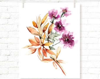Purple Flowers - Flower - Floral - Watercolor - Art Print
