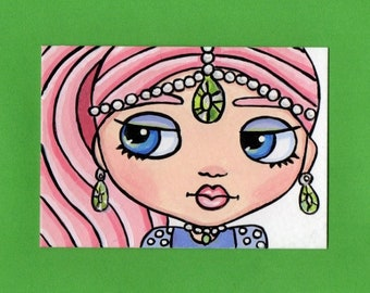 ACEO Original Miniature Painting Blythe doll face Genie Shimmer from shimmer & shine Art Artist Trading Card