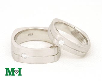 Diamond Wedding Bands,Square Gold Band,14K Solid Gold Ring,Diamond Couple Ring,Bridal set Rings,Rectangle gold Band,14k Rings,Wedding Rings