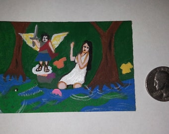 Itty Bitty Painting The Crocodile Retablo ACEO Original Mexican Folk Art Painting Miniature