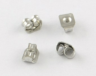 Silver Earring clasps, ear screw, ear nuts, different quantities