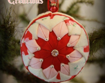 Handmade Quilted & Beaded Christmas Ball Ornament Pink Red White