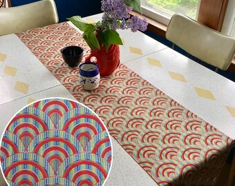 "Table Runner made from a Vintage Japanese Obi Belt ""Overlapping Waves"""