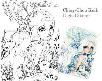 Verbleken boodschappers - digitale stempel Instant Download / Fantasy Art door Ching-Chou Kuik