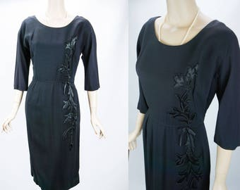Vintage 1950s Dress Black Crepe with Satin Applique Topaz Original B42 W28