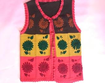 Vintage Color Block Hippie Vest | Floral Vest | Knit | 60's | 70's