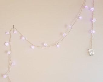 Cotton Macrame Purple Rose Fairy Lights