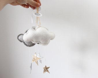 Luxe Mini Star Cloud in leather and wool felt - keepsake ornament or nursery decor - choose your color- Free US Shipping