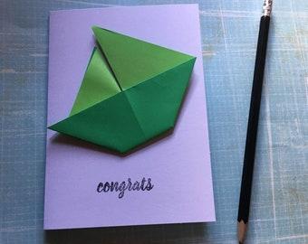 Origami greeting card - green sailing boat 'congrats'
