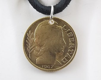 Argentina Coin Necklace, 10 Centavos, Coin Pendant, Mens Necklace, Womens Necklace, Leather Cord, Birth Year, 1947, 1950