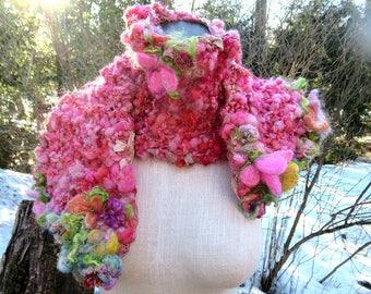 handknit scarf long handspun art yarn scarf boho flower scarf - that beautiful rose pink scarf