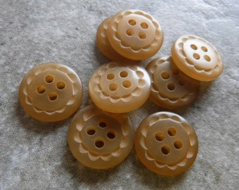 """8 Carmel Brown Dashed Rim Round Buttons Size 9/16"""""""