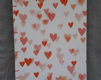 I Love You Hearts Coptic Stitch Journal