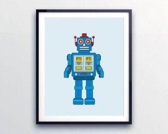 Kids wall art, Robot print nursery decor, nursery wall art, gender neutral nursery, Robot nursery. Robot art byLittle Grippers