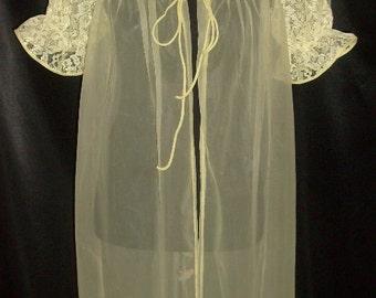 Vintage Bright Yellow Sheer Chiffon & Lace Peignoir / Robe Medium M