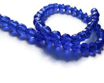 6mm Round Crystal Beads Royal Blue Beads Crystal Glass Beads Full Strand Beading Supplies Jewelry Making Faceted Round Beads