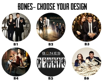 "BONES 2.25"" Button Style Pins, Mirrors, Magnets, Bottle Openers & Keychains"