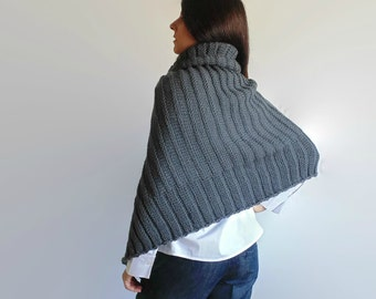 Poncho with Zip Dark Gray Patagonia Merino Wool, Layers Knitwear, Turtleneck Cape, Sweater, Capelet, Asymmetric, High Neck