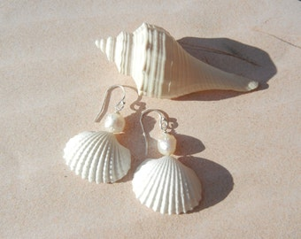Seashell Mermaid Earrings -  Pearls and Silver