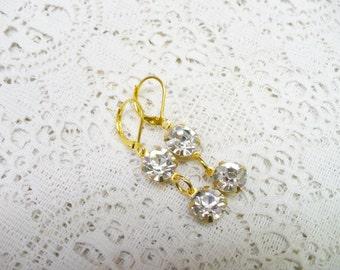 Simple Vintage Round RHINESTONE Drop Dangle Earrings - gold tone metal - BRIDESMAID gift - Bridal wedding - vintage Repurposed  - ONE (1)