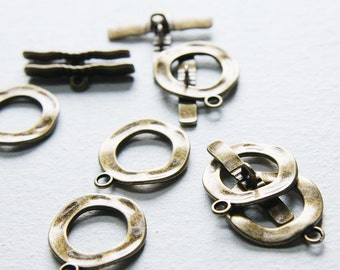 6 sets Antique Brass Tone Base Metal Toggle Clasps (16337Y-K-230)