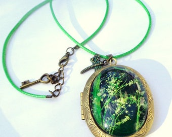 Large Cameo Locket, Glass Capped, Painted Lilies of the Valley, Green Braided Leather Cord, Antiqued Brass Locket, Hand Crafted