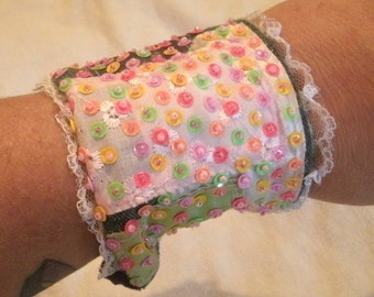 Sequin and Hand Bead Emboidered Denim and Fabric Cuff with a Surprise Zip Pocket