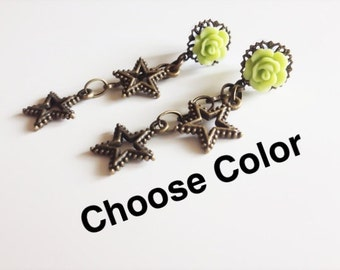6g Dangle Plugs, Star Gauges 8g Dangle Gauges 16 Colors 4g, 12g, 10g Gauged Earrings Body Jewelry Ear Plugs with Dangles