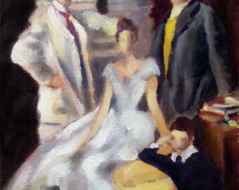 Family Portrait Study, Original Small Oil Painting