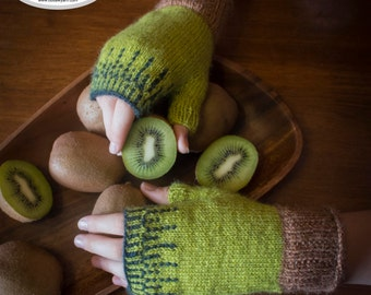 PDF knitting pattern - Kiwime fingerless gloves
